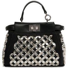 Fendi Micro Peekaboo Embroidered Crystal Satchel (14.760 HRK) ❤ liked on Polyvore featuring bags, handbags, apparel & accessories, crystal purse, satchel style handbags, fendi satchel, satchel purse and satchel handbags