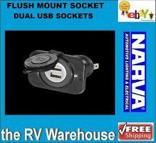 Narva Flush Mount Dual USB Socket 81134BL Caravan Car Acc New Truck RV Boat