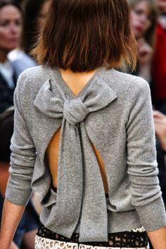 Back Bow Woolen Blouse