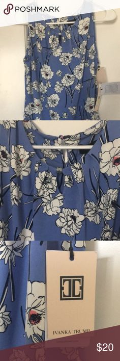 Blue Floral Ivanka Trump Blouse -blue and white floral -sleeveless blouse -never worn with tags Ivanka Trump Tops Blouses