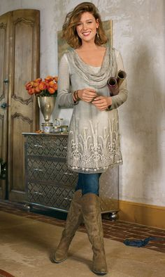 I like this look. The color will be great on your skin and it's chic and feminine and not frumpy.