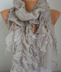 Mothers Day Gift  Beige Ruffle Scarf Cotton Scarf  by anils, $19.90