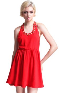 Riveted Hollow Red Dress. Description Red dress, featuring sleeveless, round neck, golden rivets on the edge, hollow back, elastic waist, lined. Fabric Dacron. Washing 40 degree machine wash , low iron. #Romwe