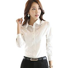 cb3d818f0b Korean Style Women Chiffon Shirts Spring Turn Down Collar Long Puff Sleeve  Show Slim Blouses Solid Tops * Want additional info? Click on the image.