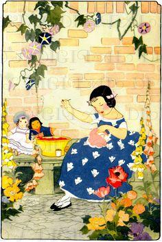 Stitching Her Dollies' CLOTHES. VINTAGE Illustration. Art Deco Garden Digital DOWNLOAD. Printable Image. Janet Laura Scott.