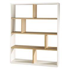 Solid oak shelf unit in white W 155cm