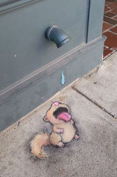 Street Art by David Zinn. Murals Street Art, 3d Street Art, Amazing Street Art, Art Mural, Street Art Graffiti, Street Artists, Graffiti Artists, Arte Peculiar, Pavement Art