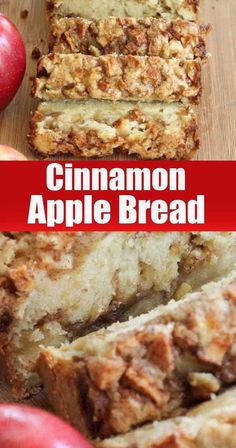 Such a fragrant, airy, lush Cinnamon Apple Bread Recipe. The crust and crumb of the bread will be quite dense. The texture and flavor of the bread is excellent! Cinnamon Banana Bread, Moist Banana Bread, Chocolate Chip Banana Bread, Cinnamon Apples, Apple Banana Bread, Apple Loaf, Easy Bread Recipes, Apple Recipes, Banana Bread Recipes