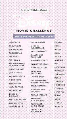 Disney Movie ChallengeYou can find List of disney movies and more on our website. Little Moana, Frozen Snow, Disney Challenge, Story Template, Big Hero 6, Finding Nemo, Zootopia, Disney Films, Aladdin