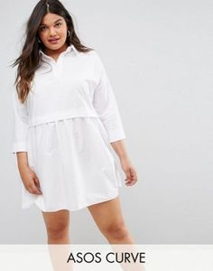 aa337494418 CURVE Cotton Mini Smock Shirt Dress