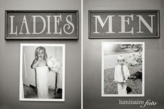 Create fun signs for the restrooms at your wedding venue that incorporate…