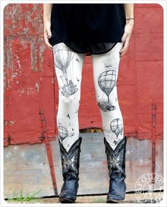 Hot Air Balloon Leggings  Womens Legging  IVORY  by Carouselink, $30.00