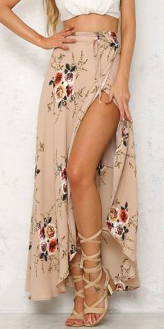 Simplee vintage floral print long skirts women summer elegant beach maxi skirt boho high waist asymmetrical skirt - the latest in bohemian fashion! Beach Maxi Skirt, Long Maxi Skirts, Boho Skirts, Denim Skirts, Dress Long, Chiffon Maxi, Skirt Outfits, Casual Outfits, Work Outfits