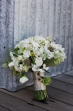 White and Green Rustic Bouquet
