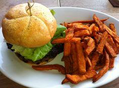 Cheeseburger with sweet potato fries at Disney, Aulani.  'Ama'ama restaurant.