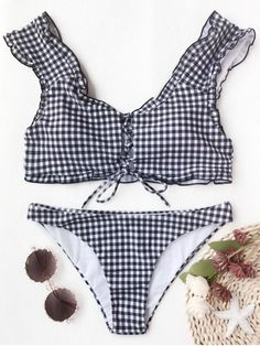 $12.99  Gingham Lace Up Bralette Bikini Set  zaful,bathing suit,swimsuits,summer,cute,beach weekend packing,women fashion,summer outfits,one pieces,swimwear,bikini set,summer fashion,Hawaii,bikini,chic,fall,fall outfits,teen bathing suits,fall fashion,bikinis,summer swimsuits,one piece swimwear,beach outfit,teen swimsuits,beach,summer bikinis,swimwear cover ups,zaful fashion,one piece swimsuit,bikini swimsuits,outfit,outfits,outfit ideas,womens fashion