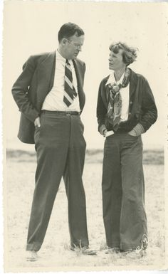 "Amelia Earhart and George Palmer Putnam. ""My wife flies. Also, she writes, and is an independent business woman..."" See his great little essay at http://www.pinterest.com/pin/38702878022373635/ , and hers at http://www.pinterest.com/pin/38702878022373632/"