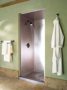 Stainless Steel Shower - Looks Great and is Easy to Clean http://www.frigodesign.com/custom-bathrooms/custom-showers/stainless-steel-shower.html