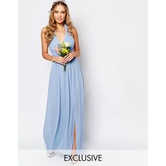 TFNC WEDDING Halter Chiffon Maxi Dress (€65) ❤ liked on Polyvore featuring dresses, gowns, cashmere blue, maxi dress, blue halter dress, tall dresses, blue dress and halter-neck dress