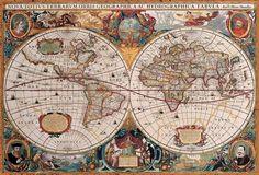 Antique World Map Canvas Art by Henricus Hondius Antique World Map, Old World Maps, Old Maps, Antique Maps, Rare Antique, World Map Poster, Poster Art, Kunst Poster, Poster Prints