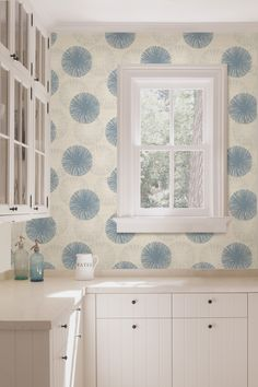 kitchen wallpaper contemporary blue and white poms a beautiful feature wall decor idea