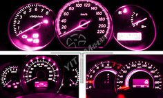 10X Purple Pink T5 3-SMD LED Bulbs Dashboard Gauge Side Door Light 74 2721 17 18