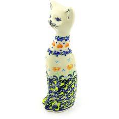 Polish Pottery 8-inch Cat Figurine | Boleslawiec Stoneware | Polmedia H2999G