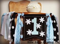 SNOWFLAKE Birthday High Chair Highchair Banner by RawEdgeSewingCo Burlap Birthday Banners, Bunting Banner, High Chair Banner, Party Photos, Diy Hacks, Photo Props, Snowflakes, Diaper Bag, Backdrops