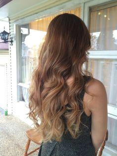 Ombré balayage blonde highlights brown Asian hair long curls barrel