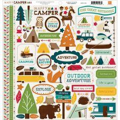 Echo Park Paper Happy Camper Cardstock Stickers Element, , hi-res