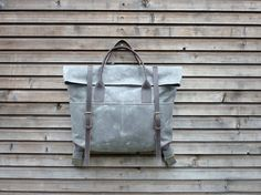 Waxed canvas backpack / utility bag with leather by treesizeverse, $209.00