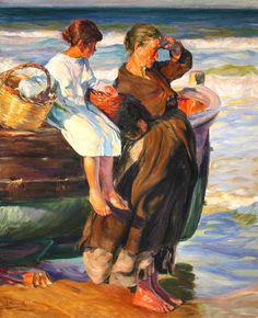 Mujer y niña en la playa de cullera by José Mongrell Torrent (1870-1937, Spain)