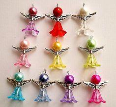 Handmade Angel Fairy Charms Pendants Acrylic Flower Beads Wings for sale online Beaded Christmas Ornaments, Christmas Jewelry, Charm Jewelry, Jewelry Crafts, Safety Pin Crafts, Beaded Angels, Handmade Angels, Acrylic Flowers, Handmade Beaded Jewelry