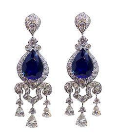 Sapphires earrings and Diamonds.