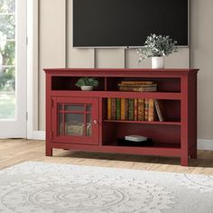 Gerald TV Stand for TVs up to 60 inches Color: Red Red Cabinets, Glass Front Cabinets, Glass Cabinet Doors, Glass Door, Red Tv Stand, White Tv Stands, Solid Wood Tv Stand, Adjustable Shelving, Open Shelving
