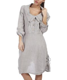 Look what I found on #zulily! Gray Linen Button-Front Dress - Plus Too #zulilyfinds