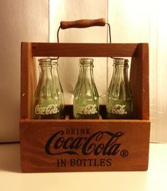 Coca-Cola 6 Mini Empty Glass Bottles in Wooden Crate Carrier With Handle And Keep It In The Original Box 1990's Era