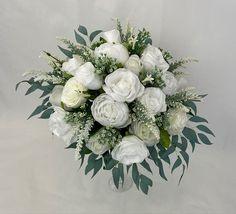 Cream White, White Flowers, Floral Wreath, Bouquet, Wreaths, Bridal, Home Decor, Homemade Home Decor, Flower Crowns