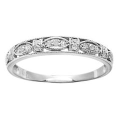 10k White Gold 1/4ct Vintage Style Pave Diamond Ring (G-H, I1-I2)