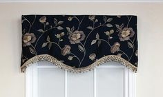 Bonita Cornice Valance in navy is embraced by embroidered flowers and lavish trim   RLF Home