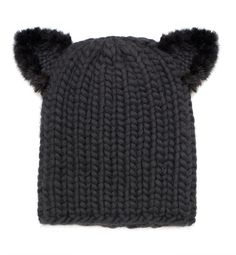 be11bdaad9bf0 Eugenia Kim Felix Fur-Trim Cat-Ear Skull Cap. LouLouBARE · Toppers · Eugenia  Kim Mimi Knit Hat with Fur Pom Poms ...