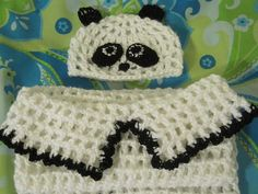 Adorable baby panda cacoon and hat by MadewithlovebyFatima on Etsy, $25.00