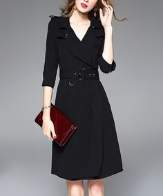 Love this Black A-Line V-Neck Dress on #zulily! #zulilyfinds
