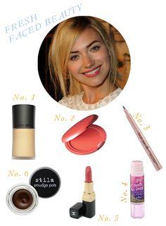 1. Giorgio Armani Luminous Silk Foundation: 2. Stila's Convertible Color: 3. Anastasia's Brow Pen: 4. Benefit's Girl Meets Pearl: 5. Rouge Coco Lipstick in Ruban Rose: 6. Stila Smudge Pots.