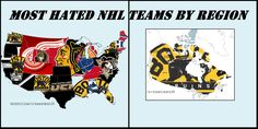 The most hated NHL teams according to a reddit survey! Bruin's fans look away...