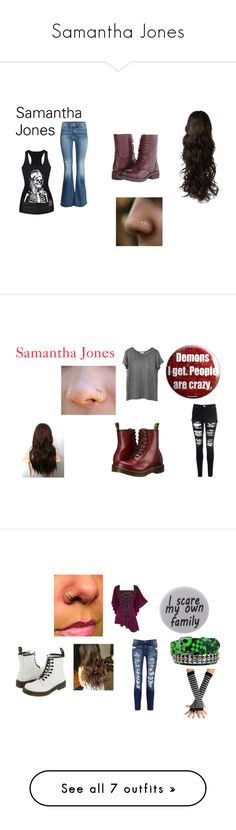 """Samantha Jones"" by alliehemsley ❤ liked on Polyvore featuring H&M, Steve Madden, Glamorous, Dr. Martens, Humör, Current/Elliott, Gottex, Converse, Nili Lotan and Hot Topic"