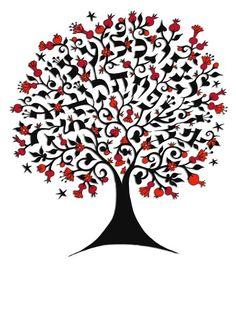 Image of Bespoke Hebrew Tree Print - Large
