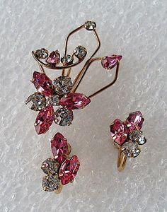 Vintage 12K Gold STAR ART Pin Earring Rhinestone Set by ddb7, $18.00
