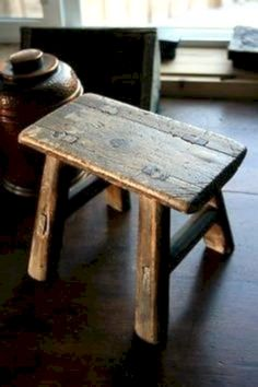 Old Wood Mortised Small Step Milk Stool Antique Vintage -- Antique Price Guide Details Page Log Furniture, Primitive Furniture, Country Furniture, Primitive Decor, Handmade Furniture, Primitive Bedroom, Primitive Homes, Primitive Antiques, Primitive Country