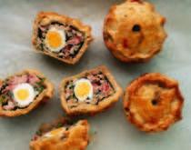 Mini pork n egg pies.  British food recipe websites. http://www.allbritishfood.com/british%20pie%20recipes.php